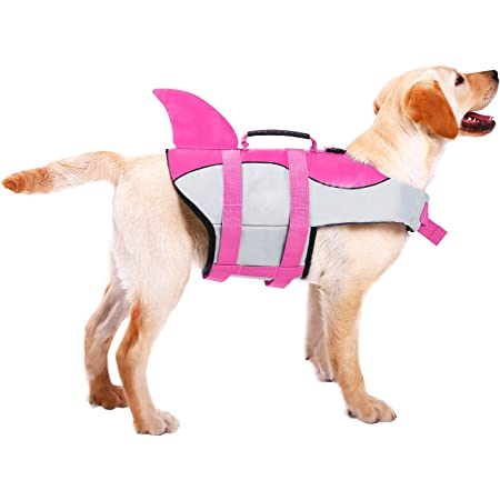 ASENKU Dog Life Jacket Ripstop Pet Floatation Vest Saver Swimsuit Preserver for Water Safety at The Pool, Beach, Boating (XL, Shark Pink)