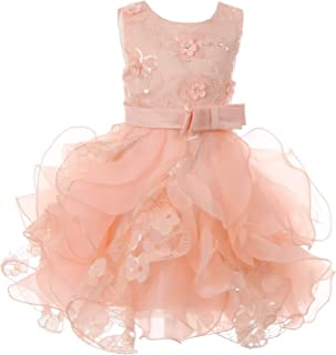 05ab233ae39 Cinderella Couture Baby Girls Peach Sequin Pearl Lace Tulle Ruffle Flower  Girl Dress 6-24M