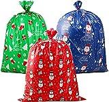 CINECE クリスマス ギフトバッグ 920 1120mm クラフトカード付 雪だるまのデザイン サンタクロース クリスマスソックスのデザイン プレゼント入り袋 家族 贈り物 人形入れ物 サンタク袋 Christmas (3種類1pcsずつ)