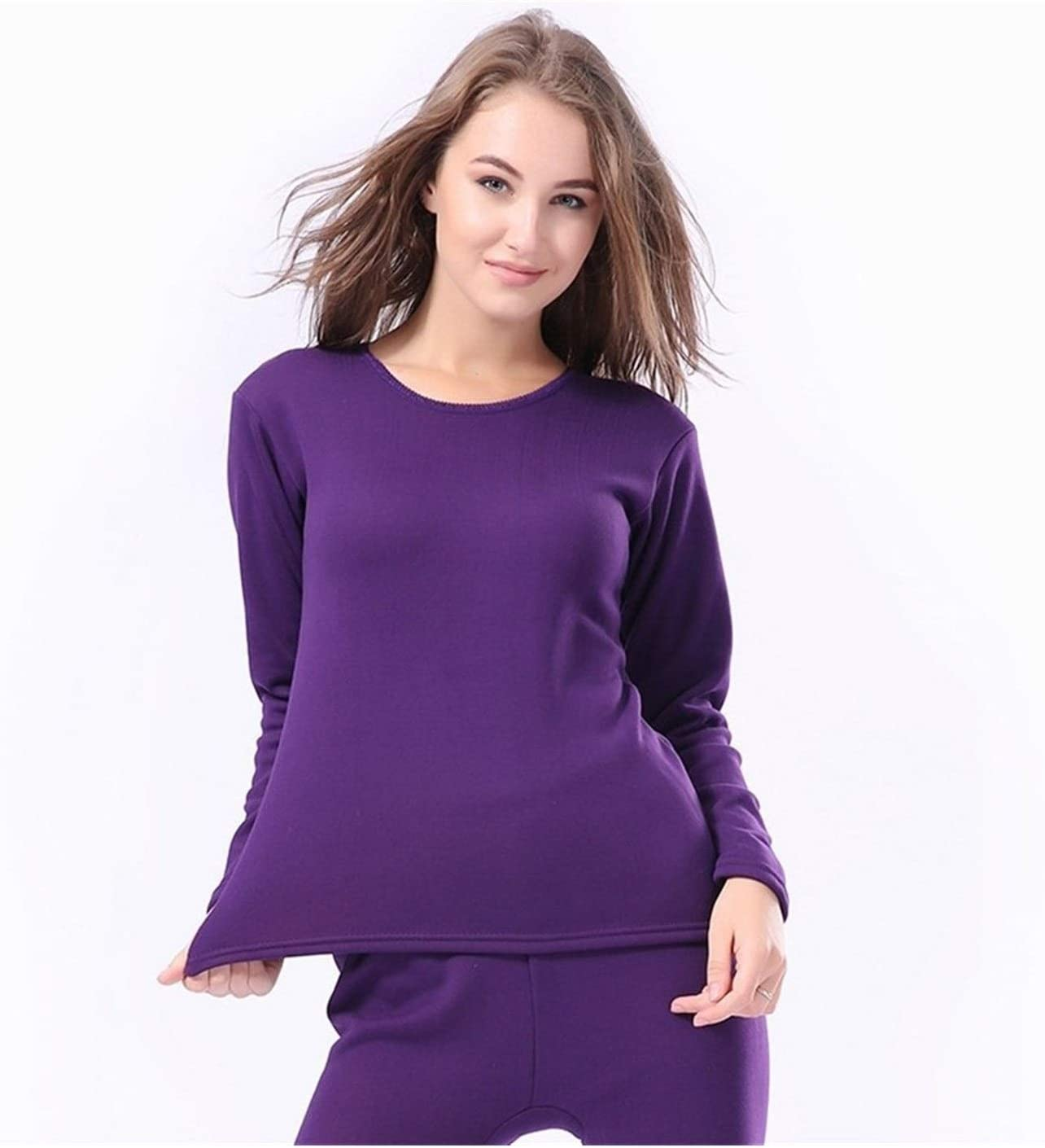 QWERBAM Women Men Thermal Underwear Autumn Winter Thicken Lovers Pajama Keep Warm Clothes Cotton Set (Color : Women 3, Size : L.)
