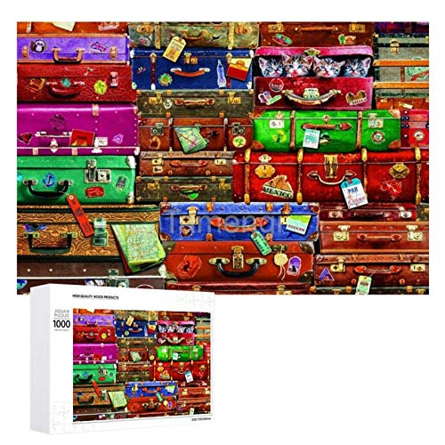Jigsaw Puzzle 1000 Piece Travel suitcases Large Puzzle Game Artwork for Adults Teens for Educational Gift Home Decor (20x30inch)