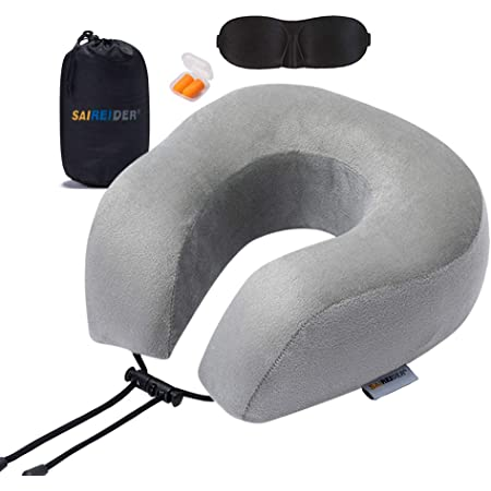 SAIREIDER Travel Pillow 100% Memory Foam Neck Pillow for Airplanes Flight Rest Best Adjustable Travel Neck Support Pillows-Prevent The Heads from Falling Forward (Grey)