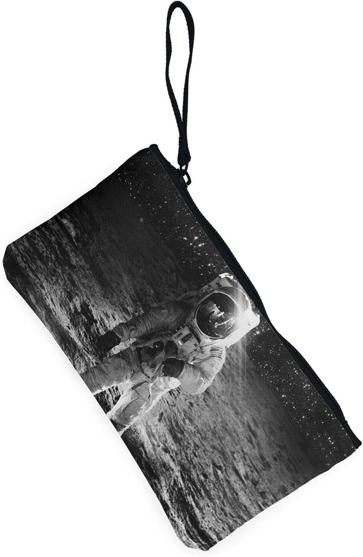 AORRUAM Astronaut Space Canvas Coin Purse,Canvas Zipper Pencil Cases,Canvas Change Purse Pouch Mini Wallet Coin Bag