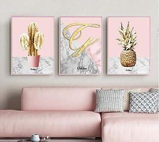 3 Panneau Affiche Nordique Rose Ananas Or doré Cactus Moderne Peinture sur Toile pour Chambre Mur Fille Imprime sans Cadre