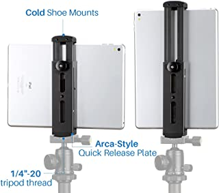 Ulanzi Aluminum Pad Tripod Mount with Cold Shoe Compatible for iPad, Metal Tablet Tripod Adapter Holder with Quick Release Plate 1/4'' Screw Mount Universal for iPad Mini/iPad 4/iPad Pro/Surface Pro