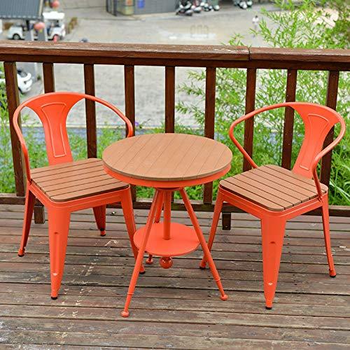 Tavolino da balcone e sedia combinazione tavolo e sedia da esterno, tavolo e sedia in legno di plastica per il tempo libero set di mobili da giardino tavolo da pranzo e sedia da terrazza, tavolo
