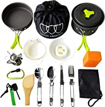 Gold Armour 10 Pieces Camping Cookware Mess Kit Backpacking Gear & Hiking Outdoors Bug Out Bag Cooking Equipment Cookset -...