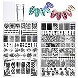 8 pcs Nail Art Plaques avec Tampon Grattoir PHOGARY Tampon Stamping Nail Art Vernis à Ongles Clou Stamper Grattoir à Ongles Outil Modèle Image Dentelle Fleur Motifs géométriques