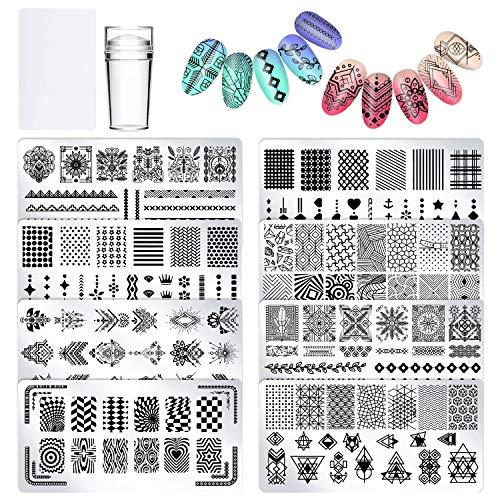 Plantilla Estampado de Uñas - 8 Placas Grandes Uñas con Varios diseños - Placas Estampacion Uñas con Raspador de Plástico, Sello de silicone