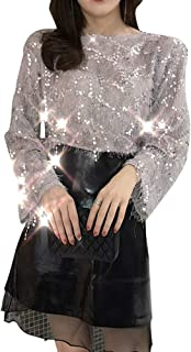 YEMOCILE Women's Sexy Sequin Tassel Lace Long Sleeve Round Collar Tops T Shirt Tee