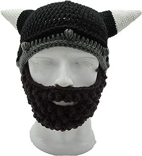 Men's Vikings Helmet Hat Horn Beard Fancy Dress Handmade Knit Winter Cap Warm Beanie Party
