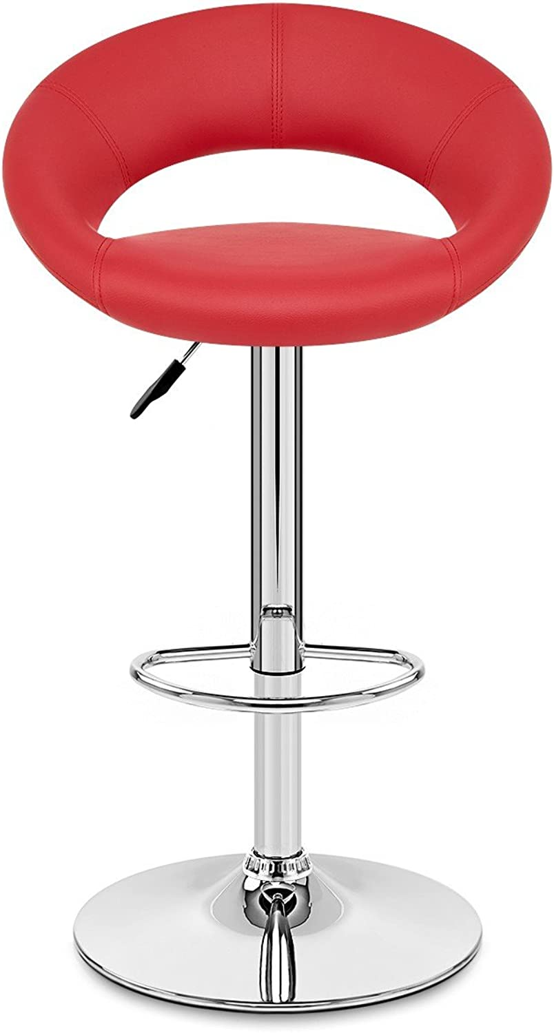 VuHom Breakfast Bar Stool with Backrest Faux Leather Chrome Footrest 360 Degree Swivel Bar Chair Set of 2 (Red)