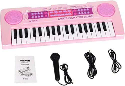 fashioneo 37 Keys Charging Multifunctional Electronic Kids Piano Music Educational Piano Keyboard Toys Musical Instrument with Microphone Pink