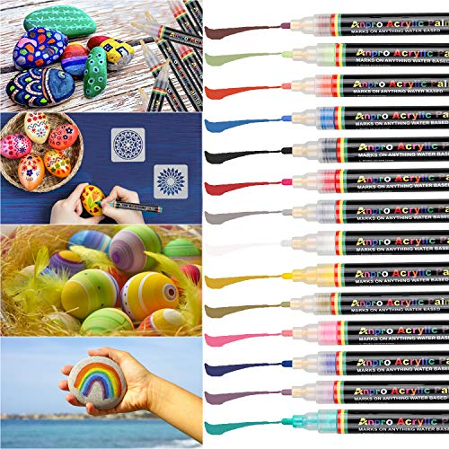 Anpro 14 Farben Wasserfeste Stifte, Acrylstifte Schnelltrocknend Permanent Marker für Malerei auf Stein, Keramik, Glas, Stoff, Holz, DIY