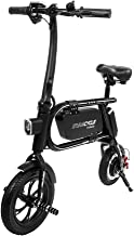 Swagtron 200W SWAGCYCLE Envy Steel Frame Folding Electric Bicycle e Bike w/Automatic Headlight – Reach 10 mph; 264 lbs Max Load