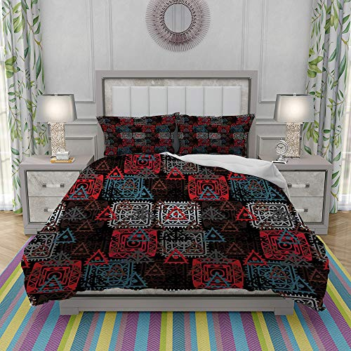 Duvet Cover Set-Bedding,Folkloric Color Mix Nested Square Lace Patterns with Tribal Persian Bohemian,Quilt Cover Bedlinen-Microfibre 140x200cm with 2 Pillowcase 50x80cm