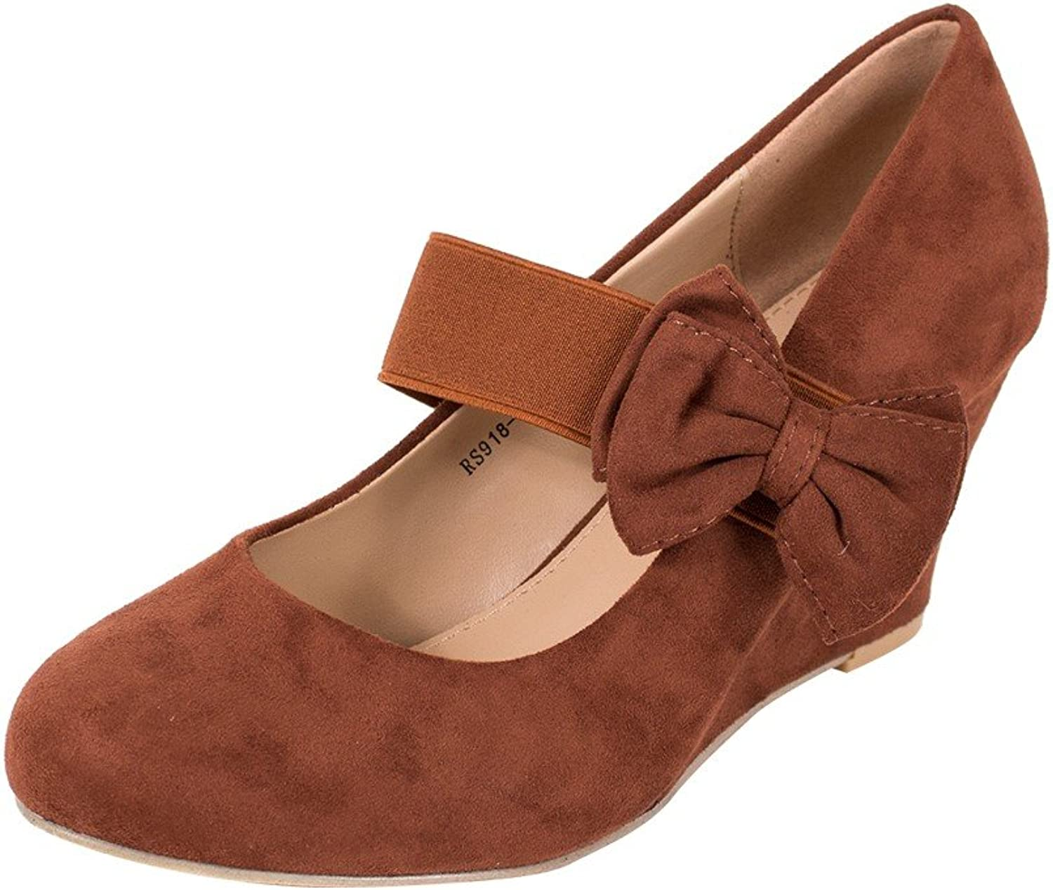 GREENS Round Toe Faux Suede Mid Wedge Pump Slip On Women shoes