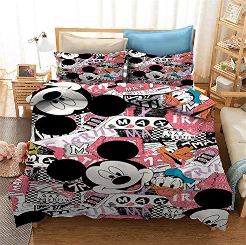 Neighbor Axin Disney Mickey Mouse - Juego de funda de edredón para niños (2 fundas de almohada), diseño de Mickey Mouse en 3D y pato Donald (135 x 200 cm)