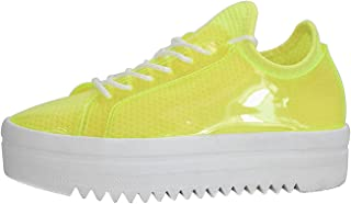Women's Platform Sneakers - Lace Up Casual Chunky Shoes Glassy Leather Sneaker - Sports Wear