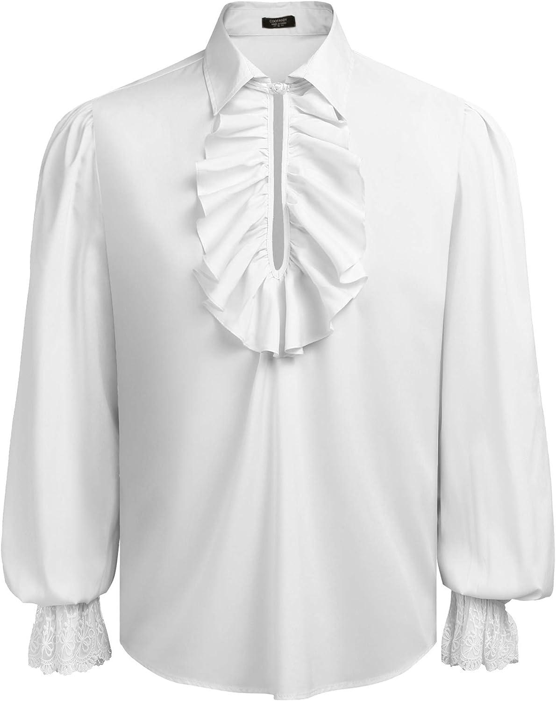 Memphis Mall COOFANDY low-pricing Mens Ruffled Gothic Victorian Renaissa Shirts Steampunk