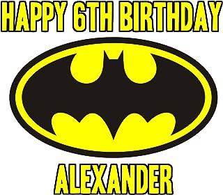Batman Logo Image Photo Cake Topper Sheet Personalized Custom Customized Birthday Party - 1/4 Sheet - 74921