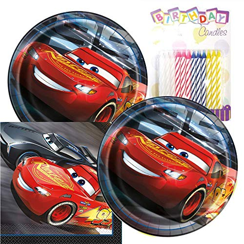 Cars Themed Party Pack – Includes Paper Plates & Luncheon Napkins Plus 24 Birthday Candles – Servers 16