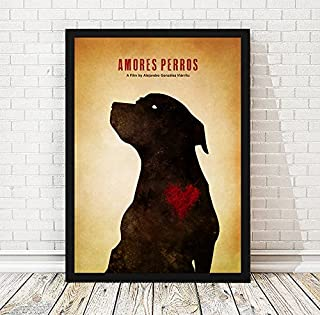 Alejandro González Iñárritu Amores Perros Minimalist Movie Artwork, Vintage Movie Poster, A3 (11.7