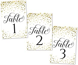 1-25 Gold Glitter Table Number Double Sided Signs for Wedding Reception, Restaurant, Birthday Event, Calligraphy Printed Numbered Card Set Centerpiece Decoration Setting Reusable Frame Stand 4x6 Size