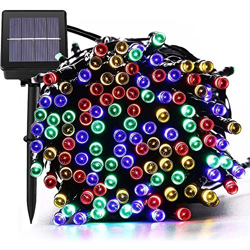 [72ft 200 Led] Solar Outdoor String Lights/ Fairy Outside Lighting Yard Patio Decoration, 8 Mode (Steady, Flash), Waterproof, Garden Decor, Halloween, Christmas, Tree, Party, Holiday (Multi-Color)