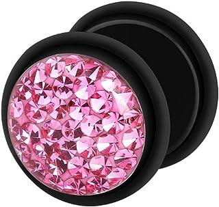 Dilatador Falso Piercing Plug Negro, Pendiente, Multi Cristales Rosa