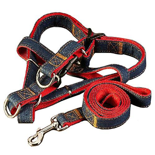 119,4cm lunghezza guinzaglio del cane imbracatura, Dawn regolabile e heavy duty denim Dog guinzaglio collare per addestramento camminare, correre, Rescue no-pull cinghia corda catena per Pet