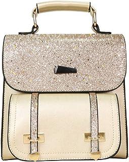 FiveloveTwo Damen Klein Rucksack PU Leder Umhängetasche Rucksackhandtaschen Shopper Mit Pailletten Schultertasche Handtasc...