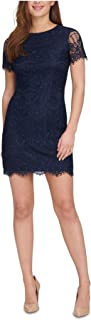 KENSIE Womens Navy Fringed Floral Short Sleeve Crew Neck Above The Knee Sheath Cocktail Dress AU Size:20