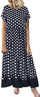 ReooLy Frauen-Baumwollleinen dot gefälschtes Zwei O-Ansatz kurzärmeliges Gedruckter Sommer Größe langes Kleid