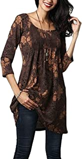 FRPE Womens Floral Printing Longline Relaxed 3/4 Sleeve Casual Top Blouse T-Shirt