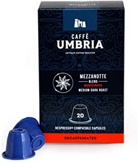 Caffe Umbria, Mezzanotte Blend, Nespresso compatible pods, Medium-Dark Roast, Box of 20