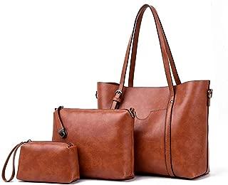 Crossbody Bag Shoulder Bag Messenger Bag Leather Casual Fashion Chain Square Bag(Brown)