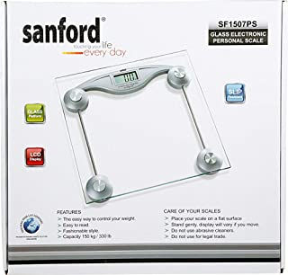 Sanford SF1507PS Glass Electronic Personal Scale, Silver