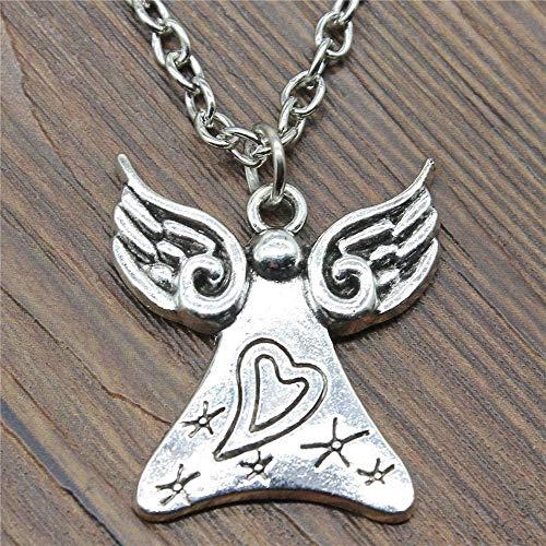 BACKZY MXJP Halskette 28X25Mm 45Cm Love Angel Anhänger Halskette Antik Silber Farbe Halskette