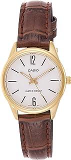 ساعة كاسيو للنساء شاشة بيضاء سوار جلد ال تي بي V005Gl 7Budf - انالوج