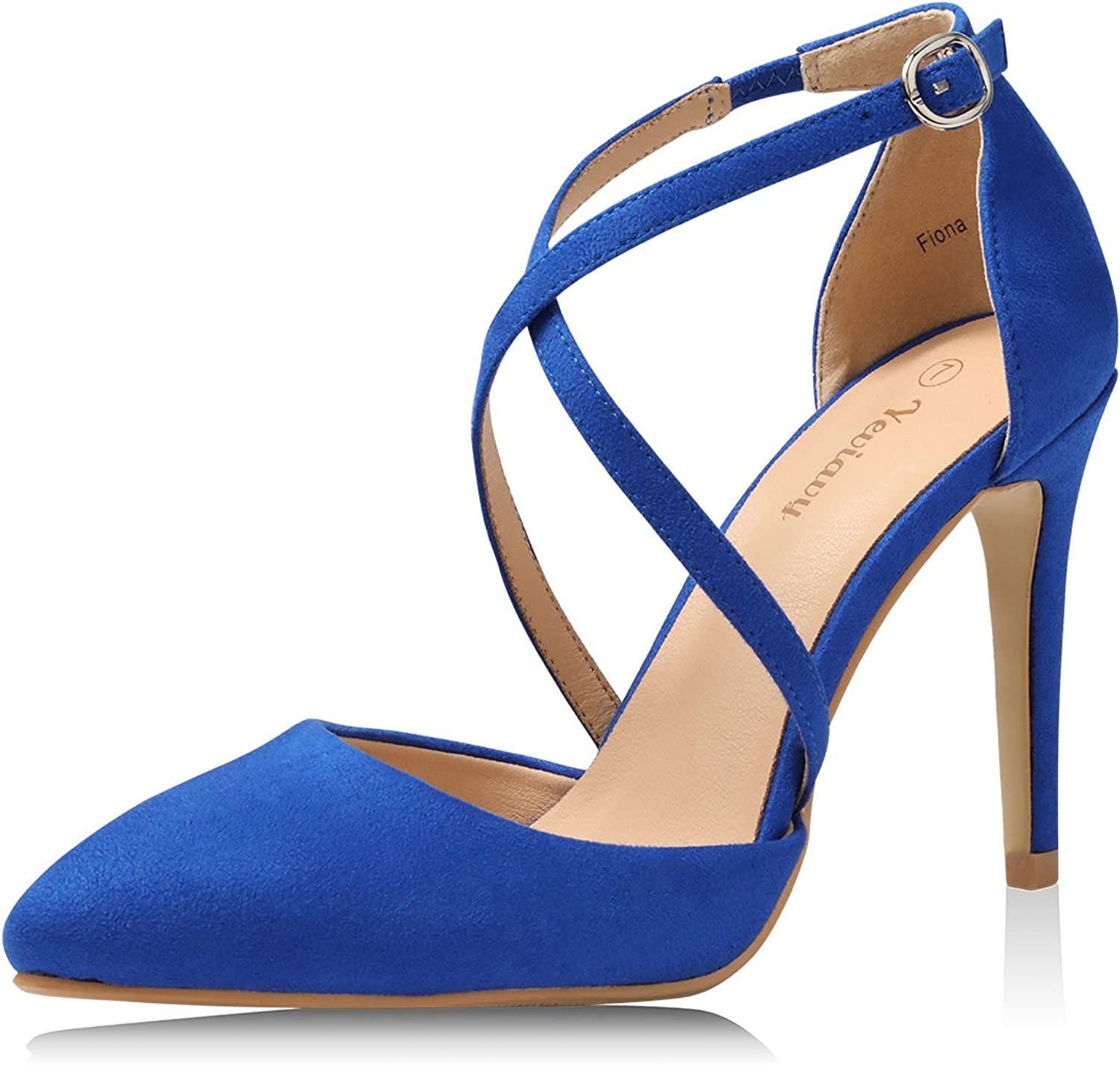 Yeviavy High Heels Women Pumps Dress Pointed Toe shoes Strappy Stiletto Buckle Closure D'Orsay Finona