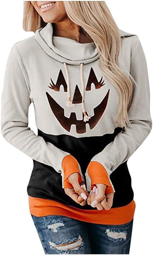 Fashion Hoodies for Womens Long Sleeve Cowl Neck Mitten Sweatshirts Casual Pumpkin Print Tunic Tops Halloween Blouse