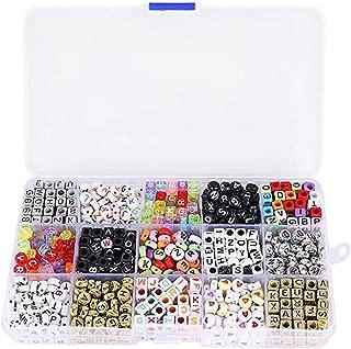 ULTNICE 1100 Piezas Abalorios Alfabeto Letras Acrílico Cuadrados Redondos con Caja de Almacenaje Plastico