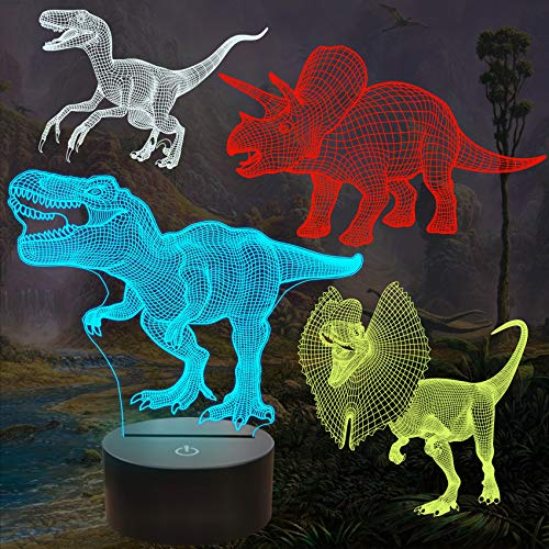 Dinosauriergeschenke, T-Rex Dinosaurier 3D Nachtlicht für Kinder (4 Muster) mit Fernbedienung & 16 Farbwechsel & dimmbare Funktion & Geschenkbox für Jungen Mädchen