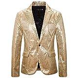 PRJN - Vestido para hombre con lentejuelas y lentejuelas, Body blusa, Hombre, color D-oro., tamaño S