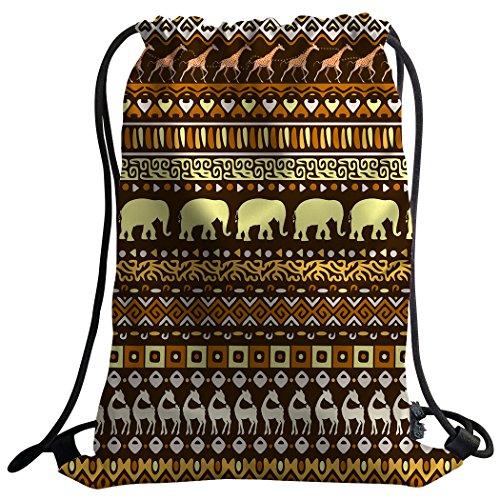Violetpos mode unisexe Sac de gym Sac à dos Sac de sport gym Bag einheimische Totem Pierre Bildhauerei Elefanten Cerf Marron