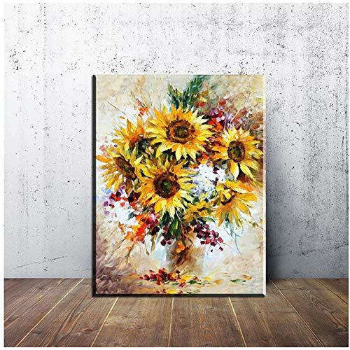 YANGMENGDAN canvas foto vaas met zonnebloemen muurschildering muurschildering woonkamer muurschildering 50x70cm No Frame