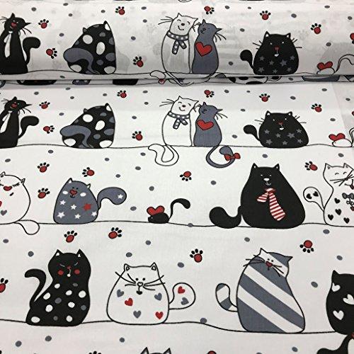 Pure Textilien Erstklassiger Baumwollstoff 0,5lfm, 100% Baumwolle, modische Muster, Breite 160cm – verrückte Katzen weiße und rote