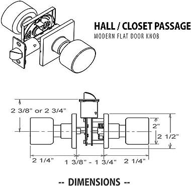 PRO 5-Pack Modern Designer Flat Hall/Closet Passage Door Knob with Square Rose in Matte Black