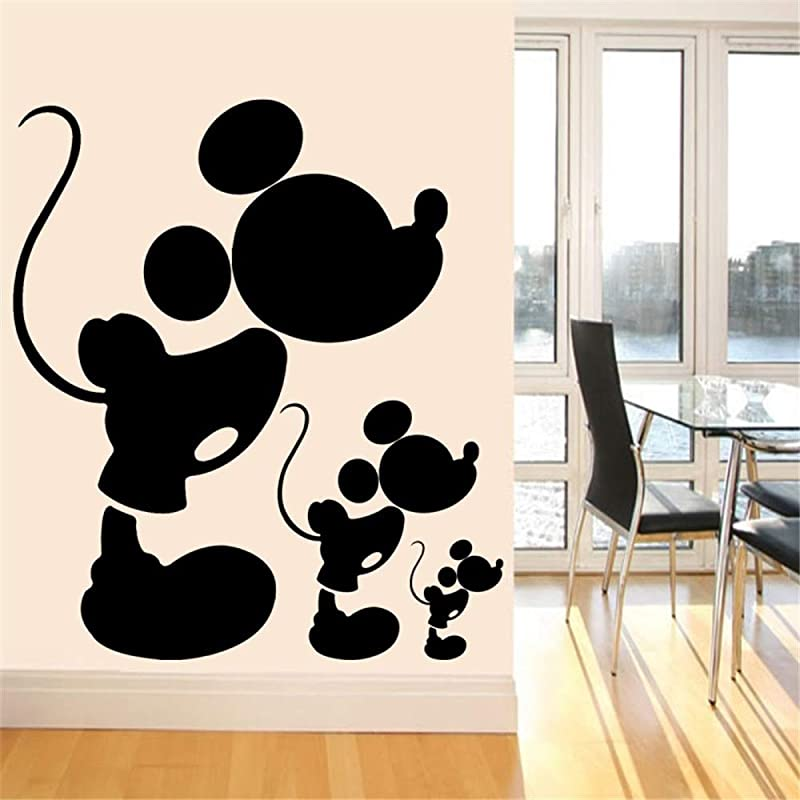 Tioua Mickey Mouse Wall Sticker Decal Cute Vinyl Wall Decal Black Mickey Mouse Wall Stickers For Baby Room Nursery Wall Sticker Home